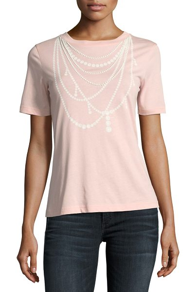 BOUTIQUE MOSCHINO Pearl Necklace-Print Tee in pink - Boutique Moschino tee with pearl necklace-print. Crew...