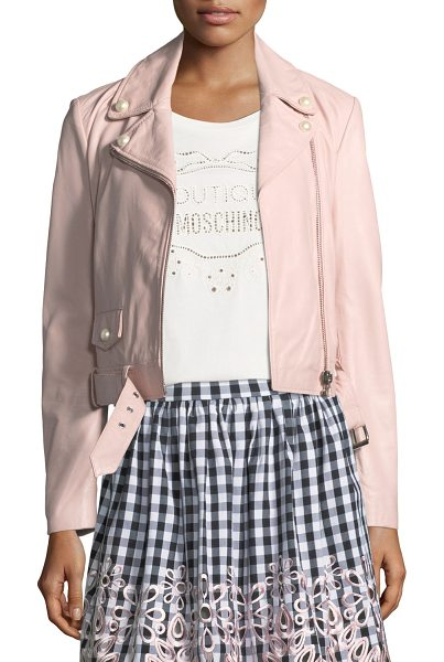 BOUTIQUE MOSCHINO Pearl-Trim Leather Moto Jacket in pink - Boutique Moschino moto jacket in napa leather. Notched...