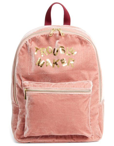 Bow & Drape trouble maker backpack in blush - Sequined letters provide a fanciful, street-savvy update...