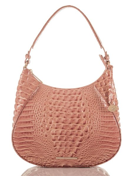 Brahmin amira leather shoulder bag in sandshell - Exotic croc embossing and a contemporary saddle...