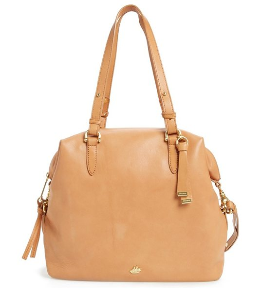 BRAHMIN charleston delaney southcoast leather tote in tan - Smooth, buttery-soft leather adds timeless refinement to...