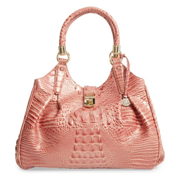 Brahmin elisa croc embossed leather shoulder bag in sandshell - Rich crocodile texture distinguishes a glazed-leather...