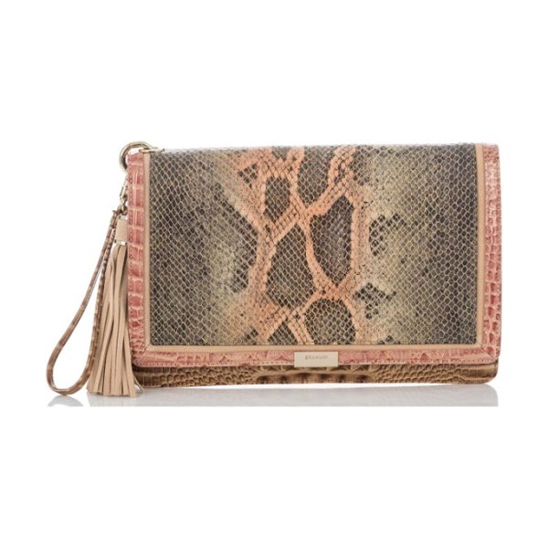 Brahmin embossed leather clutch in sandshell pachanga - Gilded detailing highlights the snake-embossed panel on...