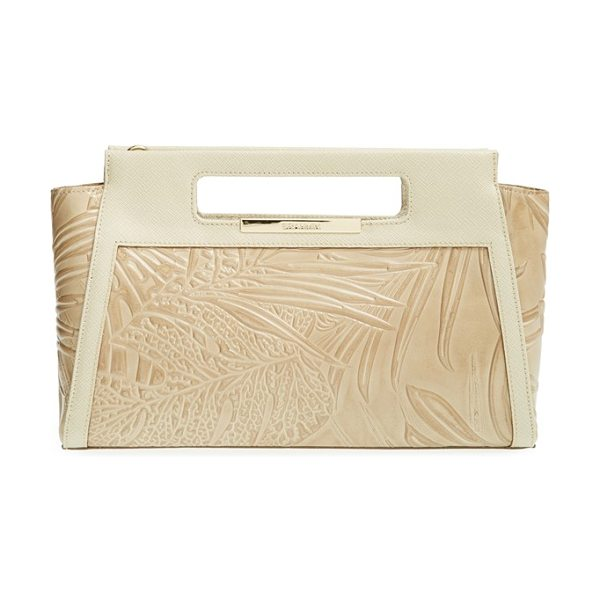 Brahmin Lenox embossed leather clutch in taupe havana - Tropically inspired embossing and rich Saffiano trim...