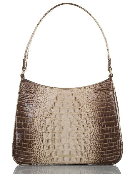 Brahmin meg melbourne croc embossed leather shoulder bag in brown