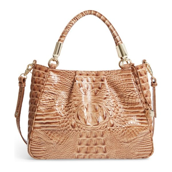 Brahmin ruby croc embossed leather satchel in tobacco - Rich crocodile embossing distinguishes a refined leather...