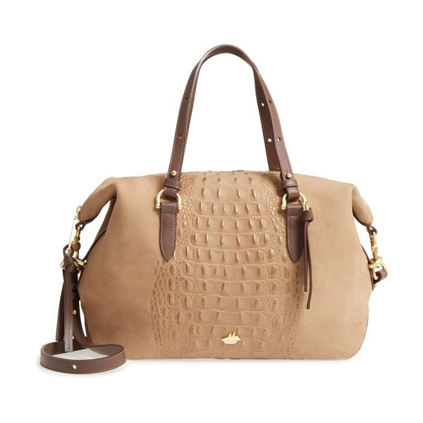 Brahmin wilmington delaney embossed nubuck satchel in gold - Croc-embossed nubuck dusted with rose-gold shimmer adds...