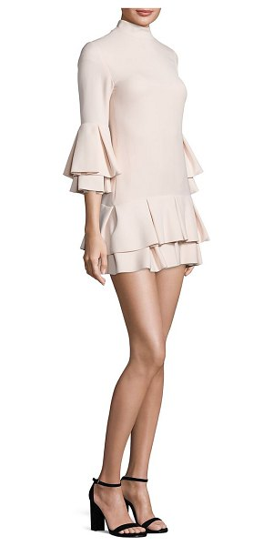 BRANDON MAXWELL bell sleeve ruffle hem mini dress - A ruffled trim at the sleeves and hem lends an air of...