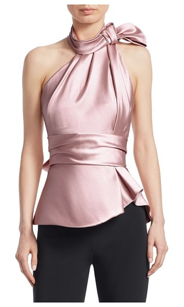 Brandon Maxwell satin scarf halter top in rose - An elegant statement, this glossy satin halter top is...