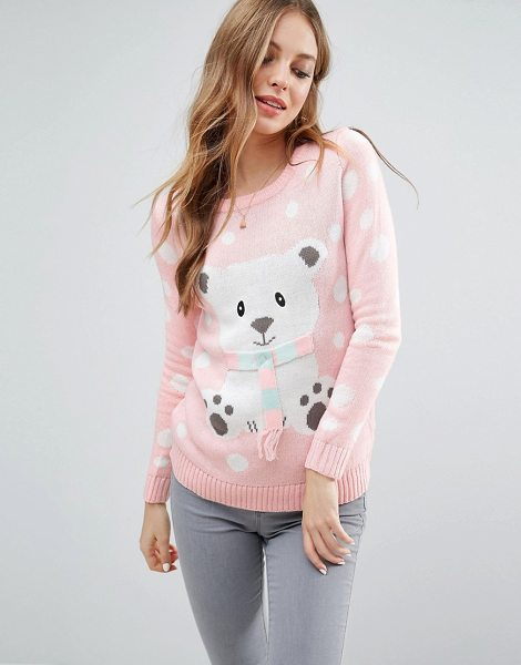 Brave Soul 3D Snowman Holidays Sweater in pink - Sweater by Brave Soul, Fine knit, Crew neck, Novelty...