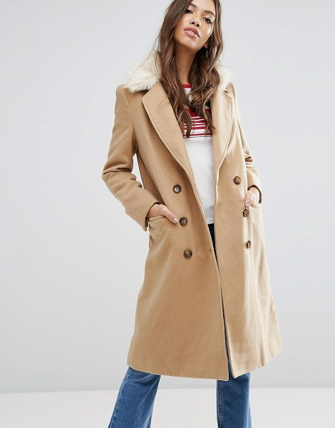 "Brave Soul ashwich double breasted coat with faux fur collar in camel - """"Coat by Brave Soul, Faux-wool fabric, Notch lapels,..."