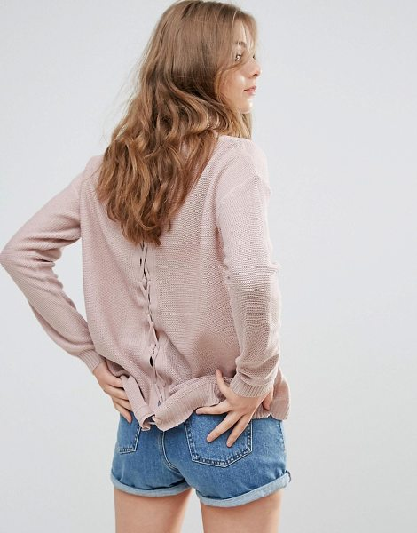 "Brave Soul Back Lace Up Sweater in pink - """"Sweater by Brave Soul, Lightweight knit, Semi-sheer..."