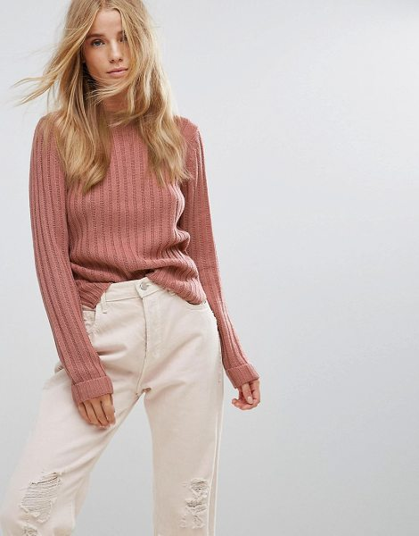 "Brave Soul Basic Rib Sweater in pink - """"Sweater by Brave Soul, Ribbed knit, Crew neck, Split..."