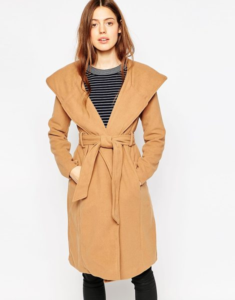 Brave Soul Belted coat with oversize hood in camel - Coat by Brave Soul Soft-touch mid-weight fabric Lightly...