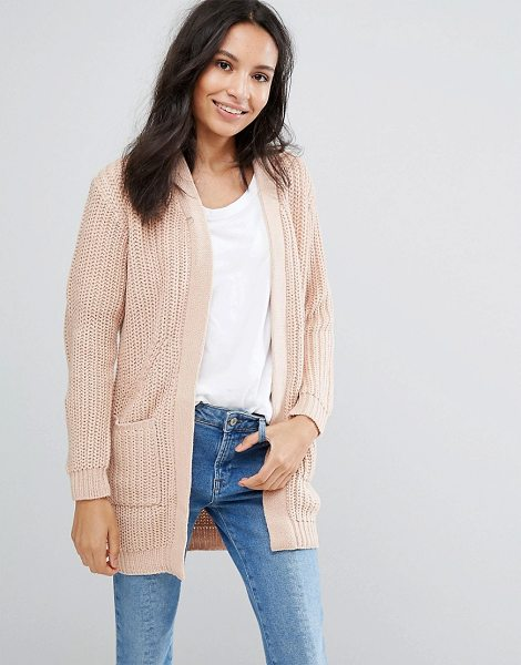 Brave Soul Chunky Cardigan in pink - Cardigan by Brave Soul, Soft-touch knit, Open front,...