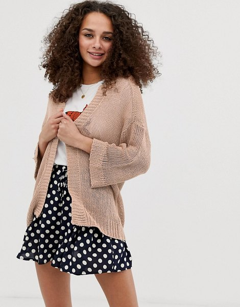 Brave Soul edge to edge cardigan in sand in sand