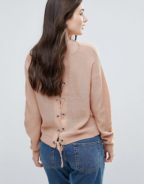 Brave Soul Eyelet Tie Back Sweater in pink - Sweater by Brave Soul, Fine knit, Round neck, Tie-back...