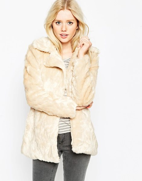 Brave Soul Faux fur jacket in cream - Jacket by Brave Soft-touch faux fur Wide notch lapels...