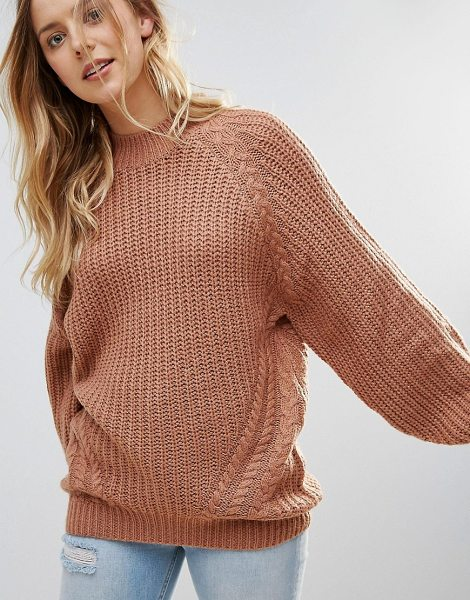 Brave Soul fez loose fit sweater in terracotta - Sweater by Brave Soul, Chunky knit, Raglan sleeves,...