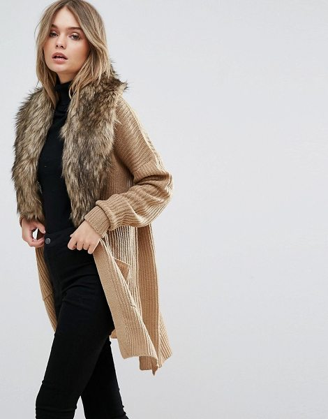 "Brave Soul Hawk Cardigan With Detachable Fur Collar in brown - """"Cardigan by Brave Soul, Chunky knit, Faux-fur collar,..."