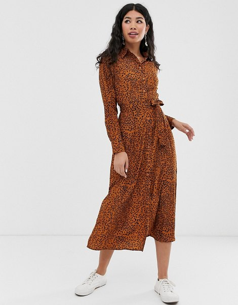 Brave Soul leanne midi shirt dress in brownnavyprint