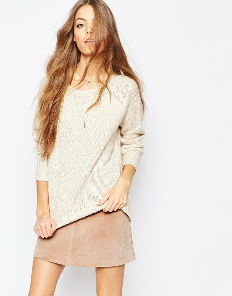 Brave Soul Open knit sweater in oatmeal