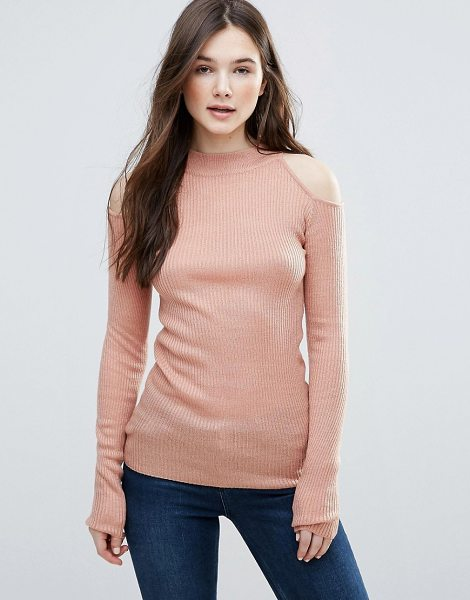 BRAVE SOUL Rib Cold Shoulder Sweater in pink - Sweater by Brave Soul, Ribbed knit, High neck,...