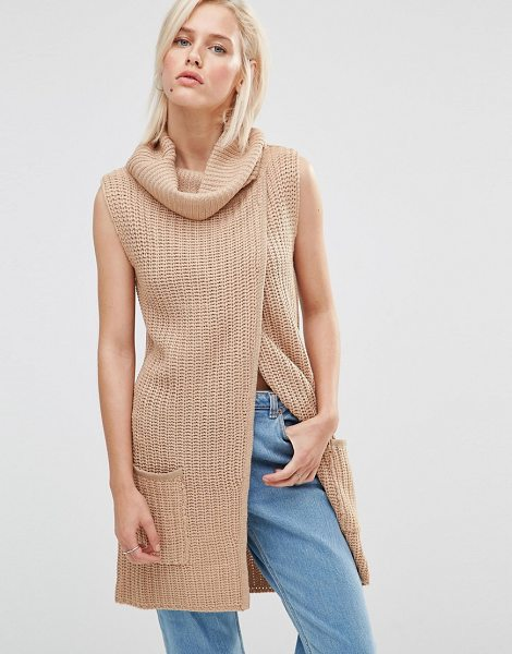 BRAVE SOUL Roll Neck Open Front Sweater - Sweater by Brave Soul, Midweight chunky knit, Roll...
