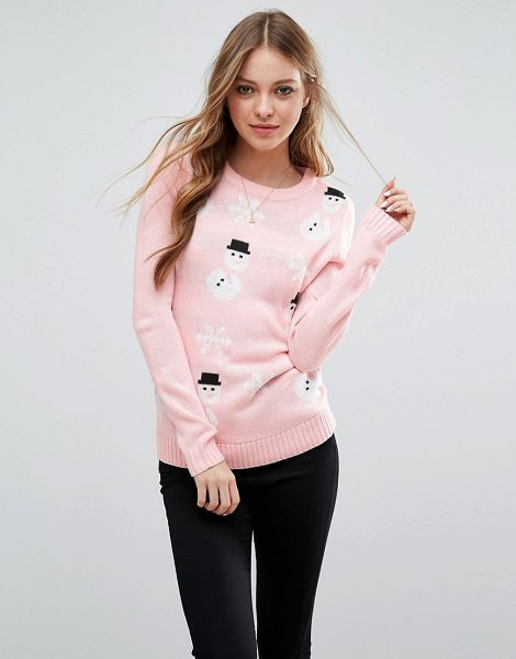 Brave Soul Snowman Holidays Sweater in pink - Sweater by Brave Soul, Soft-touch knit, Round neck,...