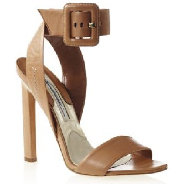 Brian Atwood Arizona leather ankle-strap sandals in camel - A square buckled strap tops this creamy leather...