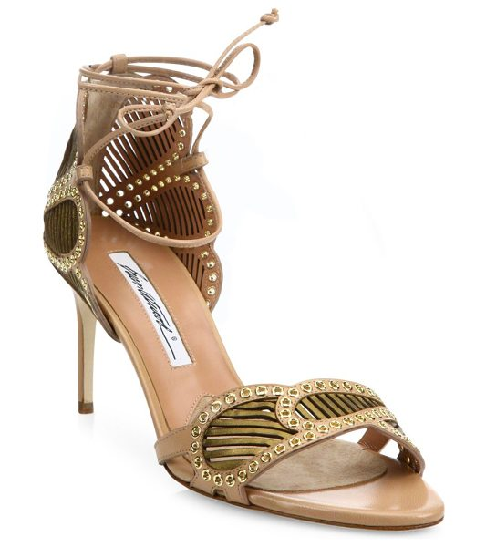 Brian Atwood Gabriella grommeted laser-cut leather ankle-wrap sandals in camel-bronze - Scalloped laser-cut leather sandal with micro...