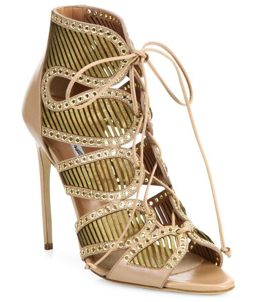 BRIAN ATWOOD Gem grommeted laser-cut leather lace-up sandals - Curvy laser-cut leather sandal with laced...
