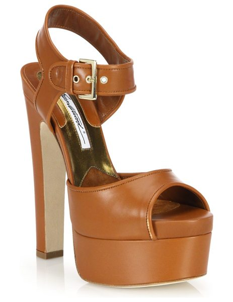 Brian Atwood Karin leather platform sandals in brown - Towering heel and platform lift leather peep-toe...