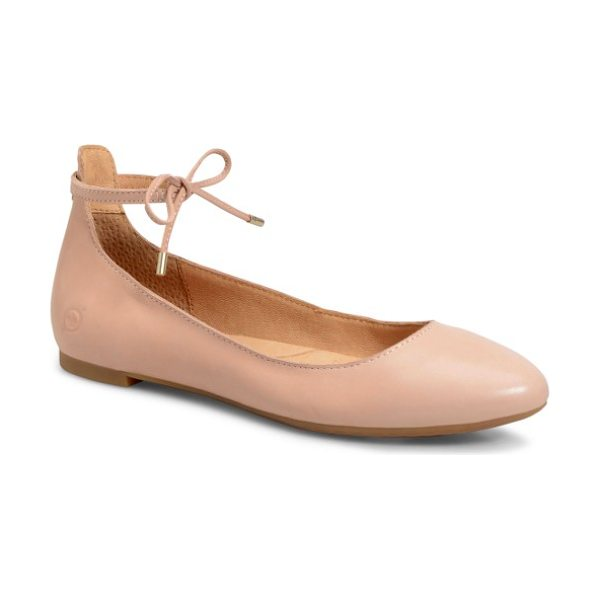 Brn b?rn kharen wraparound lace flat in pink full grain leather - Crafted from full-grain leather with a generously...
