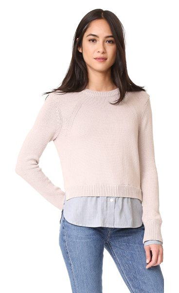 Brochu Walker anton layered pullover in city blush/pinstripe - Striped, woven trim at the cuffs and hem lend a layered...