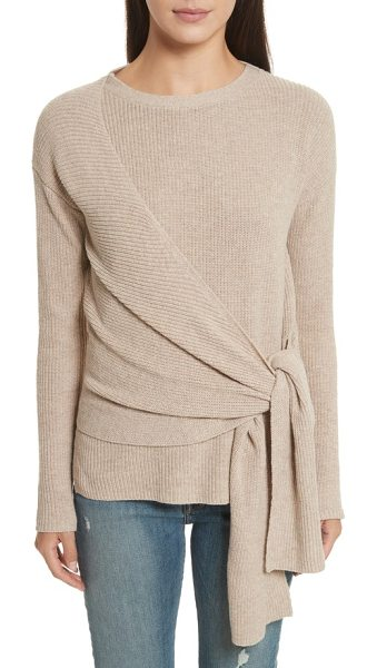 Brochu Walker greys wrap sweater in fawn melange - Wide sashes swathe the body in cozy, cashmere-tinged...