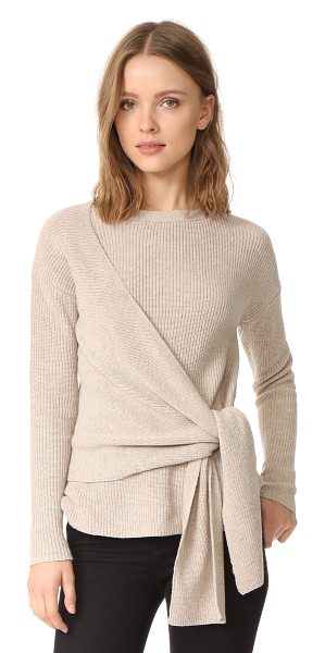 Brochu Walker greys wrap sweater in fawn melange - A wrap front panels lend cool volume to this cozy Brochu...