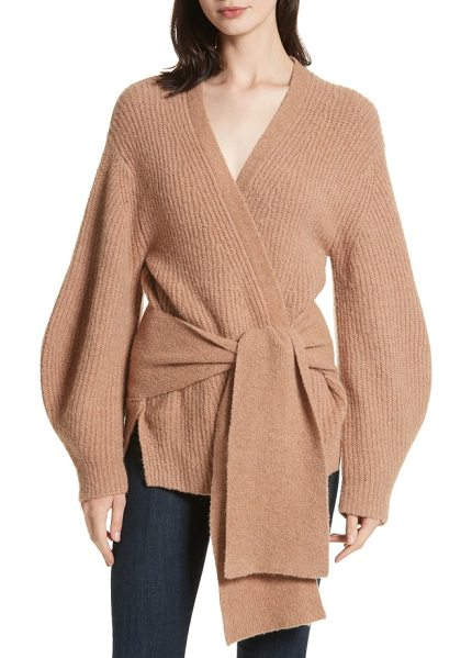 Brochu Walker hansen belted cardigan in amber clay multi - A wide sash belt loosely defines the waist in this...