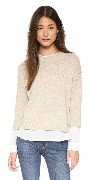 Brochu Walker Looker crew layered sweater in dune melange/apollo - An innovative Brochu Walker sweater with contrast crepe...