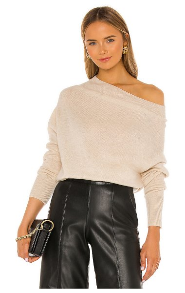 Brochu Walker lori off shoulder sweater in bisque melange