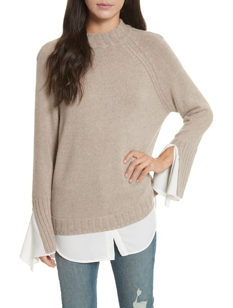 Brochu Walker remi layered pullover in jute melange/ white - A high/low shirttail hem creates layered illusion on a...