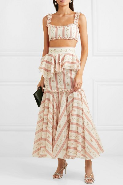 BROCK COLLECTION cutout ruffle-trimmed printed cotton maxi dress in pink
