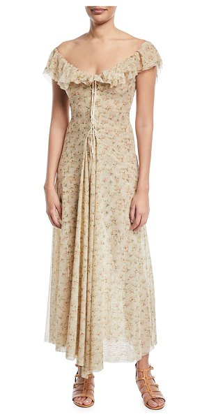 "BROCK COLLECTION Dora Off-the-Shoulder Mini-Floral Lace-Up Long Dress - Brock Collection ""Dora"" dress with mini floral-print. From..."