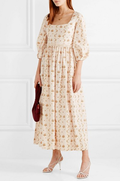 BROCK COLLECTION floral-print cotton-poplin maxi dress in beige
