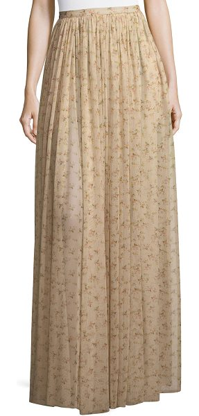 "BROCK COLLECTION Sade Floral-Print Semisheer Long Gathered Skirt in beige - Brock Collection ""Sade"" semisheer skirt with..."