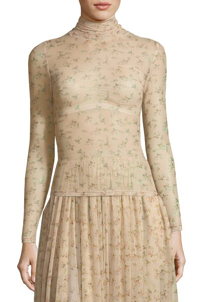 BROCK COLLECTION Tracey Turtleneck Sheer Floral-Print Top in beige