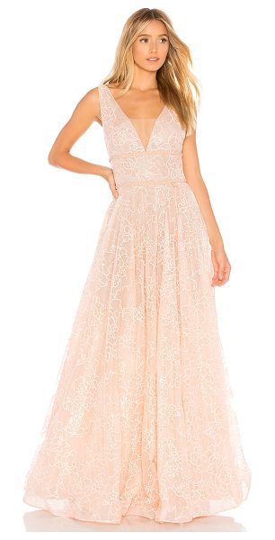 Bronx and Banco Emily Blush Gown in blush - Self: 100% polyLining: 95% poly 5% elastane. Dry clean...