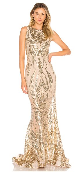 Bronx and Banco Ester Gold Gown in metallic gold - Self: 100% polyLining: 95% poly 5% elastin. Dry clean...