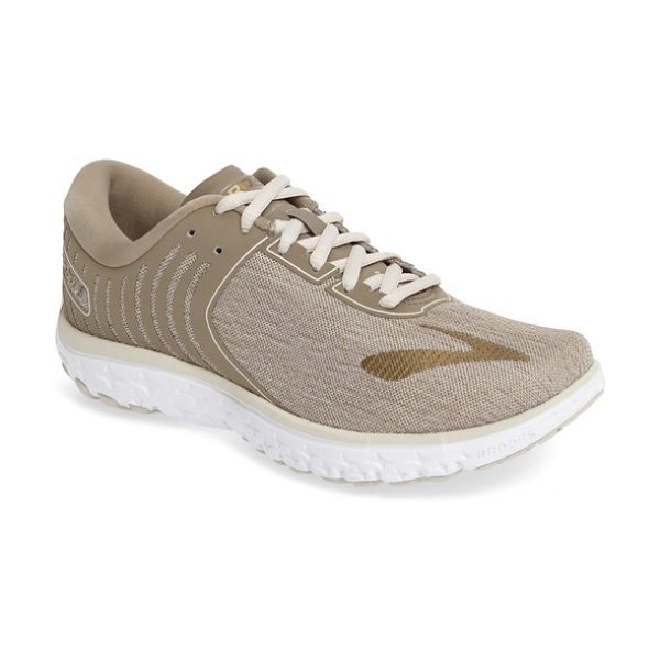 Brooks pureflow 6 running shoe in heather/ cashew/ gold - A breathable seamless upper with 3D print overlays...