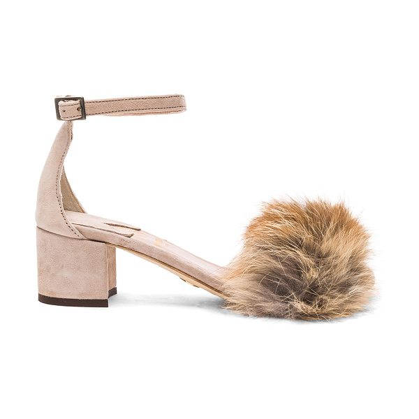 BROTHER VELLIES for FWRD Dhara Tufted Fox Fur Sandals in nude - Suede upper with leather sole. Made in Ethiopia. Fur...